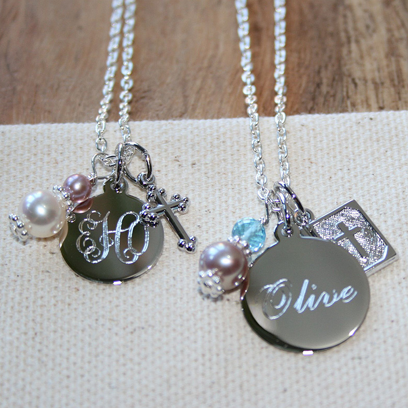 Ava™ by Adorable Engravables® - Build Your Own Custom Personalized Birthstone Necklace - Sterling Silver Rhodium - with exclusive Grow-With-Me® Chain - BEST SELLER