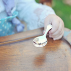 Best Baby Shower Gifts - Baby's First Spoon - Engravable Sterling Silver Baby Self Feeder Spoon with Embossed Teddy Bear by TomorrowsBABY®