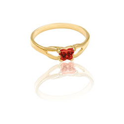 Teeny Tiny Butterfly Ring for Girls by Bfly® - January Garnet CZ Birthstone - 10K Yellow Gold Child Ring - Size 3 (3 - 8 years) - BEST SELLER/