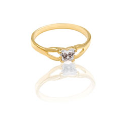 Teeny Tiny Butterfly Ring for Girls by Bfly® - April Diamond CZ Birthstone - 10K Yellow Gold Child Ring - Size 3 (3 - 8 years)/
