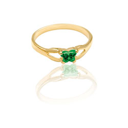 Teeny Tiny Butterfly Ring for Girls by Bfly® - May Emerald CZ Birthstone - 10K Yellow Gold Child Ring - Size 3 (3 - 8 years)/