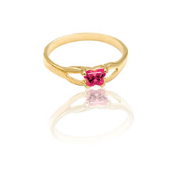Teeny Tiny Butterfly Ring for Girls by Bfly® - July Ruby CZ Birthstone - 10K Yellow Gold Child Ring - Size 3 (3 - 8 years)/