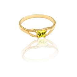 Teeny Tiny Butterfly Ring for Girls by Bfly® - November Citrine CZ Birthstone - 10K Yellow Gold Child Ring - Size 3 (3 - 8 years)/