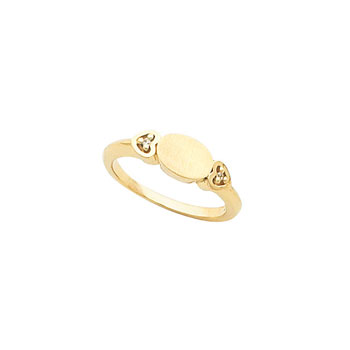 Little Girls 10K Yellow Gold Diamond Heart Oval Signet Ring - Premium Weight 3.37 Grams - Sizes 3, 3½, 4, 4½, 5, 5½, 6, 6½, and 7