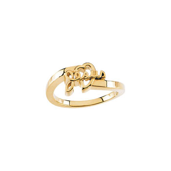 Little Girls Love Jesus 14K Yellow Gold Ring - Premium Weight 2.72 Grams - Size 3 (3 - 8 years)