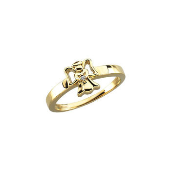 Little Girls Angel Diamond 14K Yellow Gold Ring - Premium Weight 2.15 Grams - Size 3 (3 - 8 years)