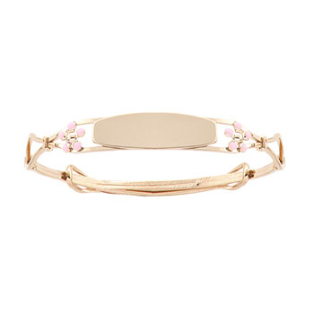 Keepsake Adjustable Bracelets - Pink Flowers 14k Yellow Gold Adjustable Flower Bangle Bracelet - Engravable on Front - One bracelet fits baby, toddler, and child up to 8 years - BEST SELLER