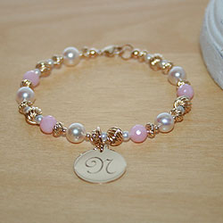 Gems of Gold Just for Her™ by My First Pearls® – 14K yellow gold – Grow-With-Me® designer original freshwater cultured pearl bracelet – Personalize with gemstones & charms /
