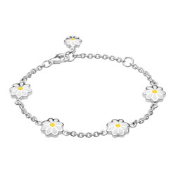 Adorable White & Yellow Girls Daisy Bracelet - Enameled Sterling Silver Rhodium - Size 6.5