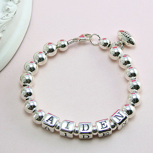 Classic Silver - Boy's sterling silver name bracelet - Grow-With-Me® designer bracelet - Personalize with birthstones & charms