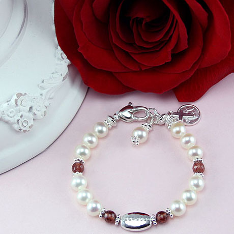 Sweet Sophisticated Baby™ by My First Pearls® – Grow-With-Me® designer original freshwater cultured pearl bracelet – Personalize with gemstones & charms