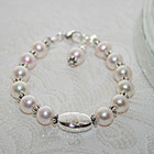 Sophisticated Baby in Pearls™ by My First Pearls® – Grow-With-Me® designer original freshwater cultured pearl bracelet – Personalize with gemstones & charms