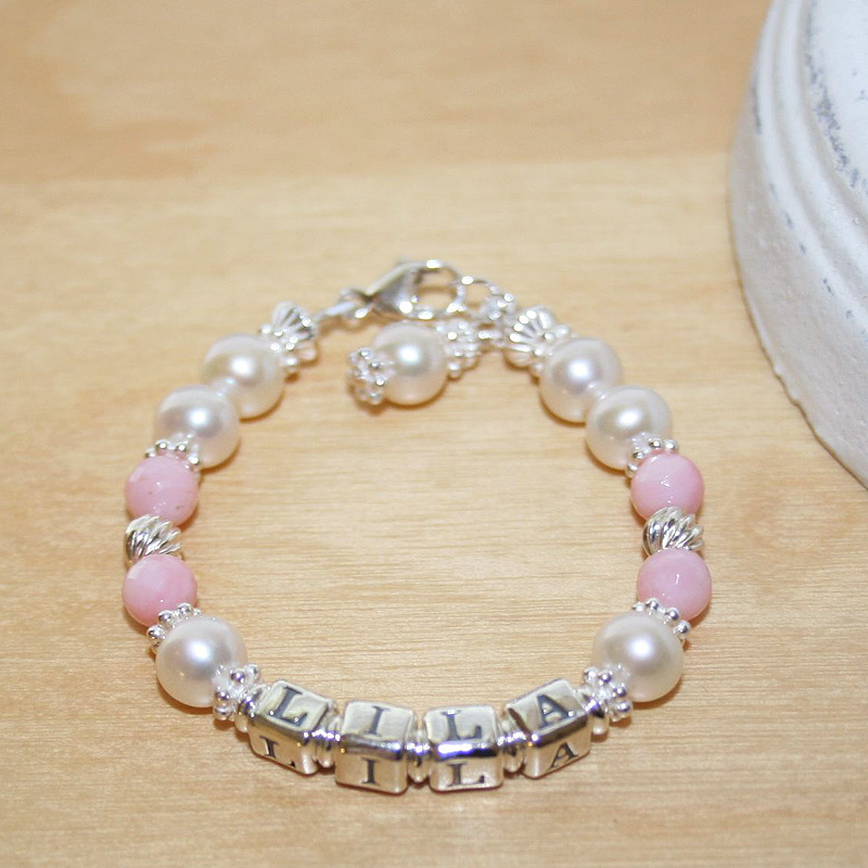 Abby Rose Heirloom Collection™ by My First Pearls® – Grow-With-Me® designer original freshwater cultured pearl name bracelet – Personalize with gemstones & charms