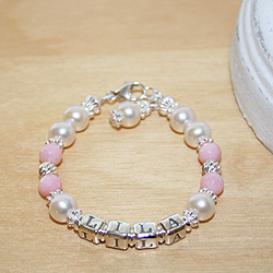 Abby Rose Heirloom Collection™ by My First Pearls® – Grow-With-Me® designer original freshwater cultured pearl name bracelet – Personalize with gemstones & charms/