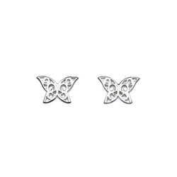 Girl's Adorable Sterling Silver Fancy Butterfly Earrings - Push-back butterfly posts/