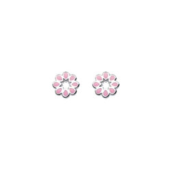 Girl's Adorable Sterling Silver Pink Flower Earrings - Push-back butterfly posts/