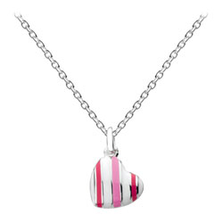 Small Candy Twist Pink and White Heart Necklace - Sterling Silver Rhodium Girls Heart Necklace - 14