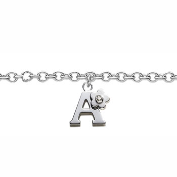 Girls Initial A - Sterling Silver Girls Initial Bracelet - Includes one Genuine Diamond Accented Initial A Charm - Add an optional engravable charm to personalize