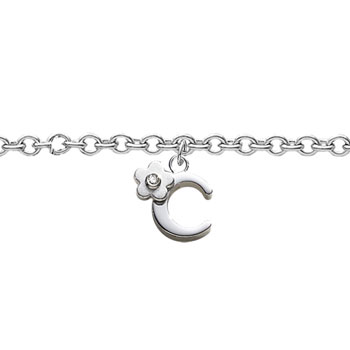 Girls Initial C - Sterling Silver Girls Initial Bracelet - Includes one Genuine Diamond Accented Initial C Charm - Add an optional engravable charm to personalize