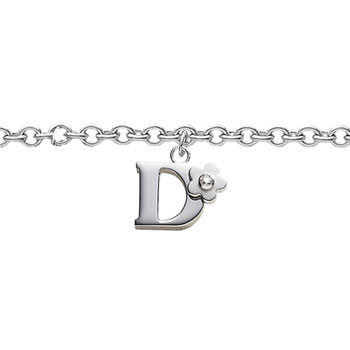 Girls Initial D - Sterling Silver Girls Initial Bracelet - Includes one Genuine Diamond Accented Initial D Charm - Add an optional engravable charm to personalize
