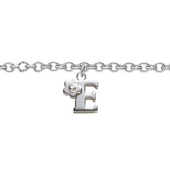 Girls Initial E - Sterling Silver Girls Initial Bracelet - Includes one Genuine Diamond Accented Initial E Charm - Add an optional engravable charm to personalize