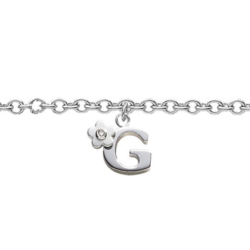 Girls Initial G - Sterling Silver Girls Initial Bracelet - Includes one Genuine Diamond Accented Initial G Charm - Add an optional engravable charm to personalize