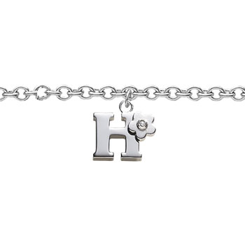 Girls Initial H - Sterling Silver Girls Initial Bracelet - Includes one Genuine Diamond Accented Initial H Charm - Add an optional engravable charm to personalize