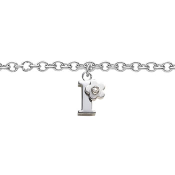 Girls Initial I - Sterling Silver Girls Initial Bracelet - Includes one Genuine Diamond Accented Initial I Charm - Add an optional engravable charm to personalize