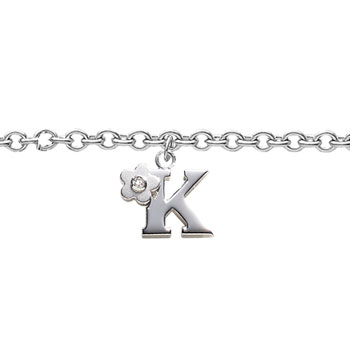 Girls Initial K - Sterling Silver Girls Initial Bracelet - Includes one Genuine Diamond Accented Initial K Charm - Add an optional engravable charm to personalize