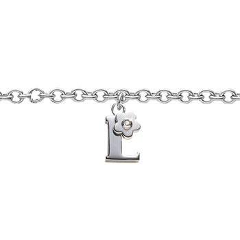 Girls Initial L - Sterling Silver Girls Initial Bracelet - Includes one Genuine Diamond Accented Initial L Charm - Add an optional engravable charm to personalize