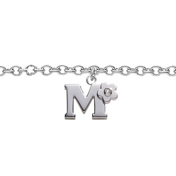 Girls Initial M - Sterling Silver Girls Initial Bracelet - Includes one Genuine Diamond Accented Initial M Charm - Add an optional engravable charm to personalize