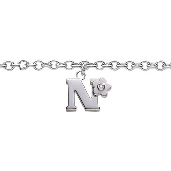 Girls Initial N - Sterling Silver Girls Initial Bracelet - Includes one Genuine Diamond Accented Initial N Charm - Add an optional engravable charm to personalize