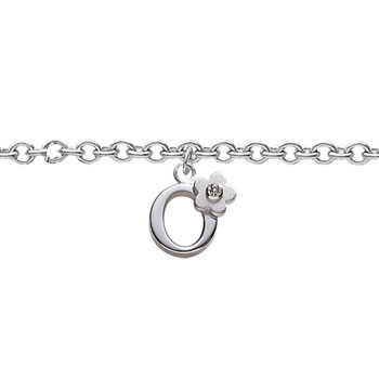 Girls Initial O - Sterling Silver Girls Initial Bracelet - Includes one Genuine Diamond Accented Initial O Charm - Add an optional engravable charm to personalize
