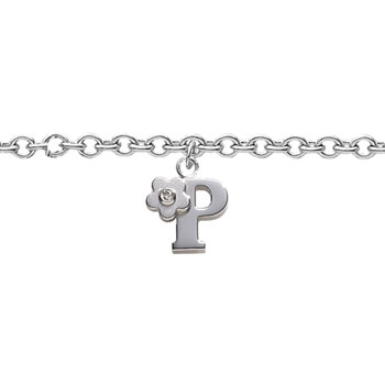 Girls Initial P - Sterling Silver Girls Initial Bracelet - Includes one Genuine Diamond Accented Initial P Charm - Add an optional engravable charm to personalize