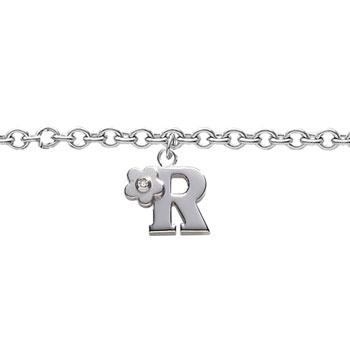 Girls Initial R - Sterling Silver Girls Initial Bracelet - Includes one Genuine Diamond Accented Initial R Charm - Add an optional engravable charm to personalize