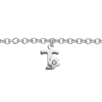 Girls Initial T - Sterling Silver Girls Initial Bracelet - Includes one Genuine Diamond Accented Initial T Charm - Add an optional engravable charm to personalize