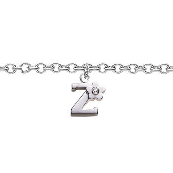 Girls Initial Z - Sterling Silver Girls Initial Bracelet - Includes one Genuine Diamond Accented Initial Z Charm - Add an optional engravable charm to personalize