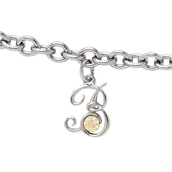 Girls Script Initial B - Sterling Silver Girls Initial Bracelet - Includes one Genuine Diamond and 14K Yellow Gold Accented Initial B Charm - Add an optional engravable charm to personalize