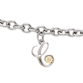 Girls Script Initial C - Sterling Silver Girls Initial Bracelet - Includes one Genuine Diamond and 14K Yellow Gold Accented Initial C Charm - Add an optional engravable charm to personalize
