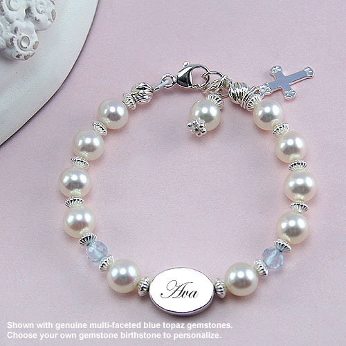 Rebecca Gemstone Collection™ by My First Pearls® – Grow-With-Me® designer original freshwater cultured pearl bracelet – Personalize with gemstones & charms