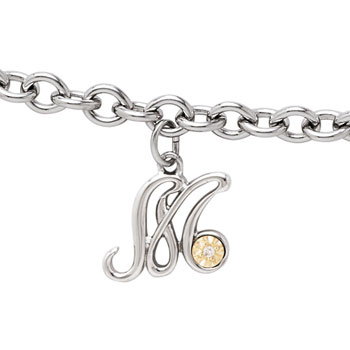 Girls Script Initial M - Sterling Silver Girls Initial Bracelet - Includes one Genuine Diamond and 14K Yellow Gold Accented Initial M Charm - Add an optional engravable charm to personalize