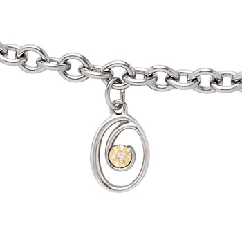 Girls Script Initial O - Sterling Silver Girls Initial Bracelet - Includes one Genuine Diamond and 14K Yellow Gold Accented Initial O Charm - Add an optional engravable charm to personalize