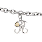 Girls Script Initial R - Sterling Silver Girls Initial Bracelet - Includes one Genuine Diamond and 14K Yellow Gold Accented Initial R Charm - Add an optional engravable charm to personalize