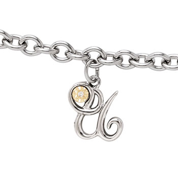 Girls Script Initial U - Sterling Silver Girls Initial Bracelet - Includes one Genuine Diamond and 14K Yellow Gold Accented Initial U Charm - Add an optional engravable charm to personalize
