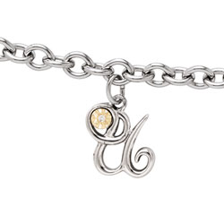 Girls Script Initial U - Sterling Silver Girls Initial Bracelet - Includes one Genuine Diamond and 14K Yellow Gold Accented Initial U Charm - Add an optional engravable charm to personalize/