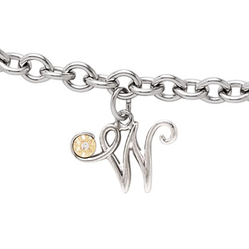 Girls Script Initial W - Sterling Silver Girls Initial Bracelet - Includes one Genuine Diamond and 14K Yellow Gold Accented Initial W Charm - Add an optional engravable charm to personalize