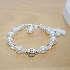 Traditions of Love™ by My First Pearls® – Grow-With-Me® designer original freshwater cultured pearl name bracelet – Personalize with gemstones & charms