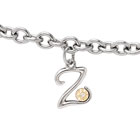 Girls Script Initial Z - Sterling Silver Girls Initial Bracelet - Includes one Genuine Diamond and 14K Yellow Gold Accented Initial Z Charm - Add an optional engravable charm to personalize