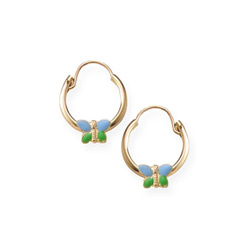 Gold Hoop Blue and Green Enameled Butterfly Earrings for Girls - 14K Yellow Gold Hoop Earrings for Girls - (6 - 12 years)/