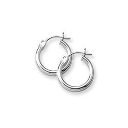Gold Hoop Earrings for Girls - 14K White Gold Hoop Earrings for Girls Age 6 years and up/